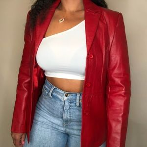 Vintage 90's Beautiful Crimson Red Leather Jacket